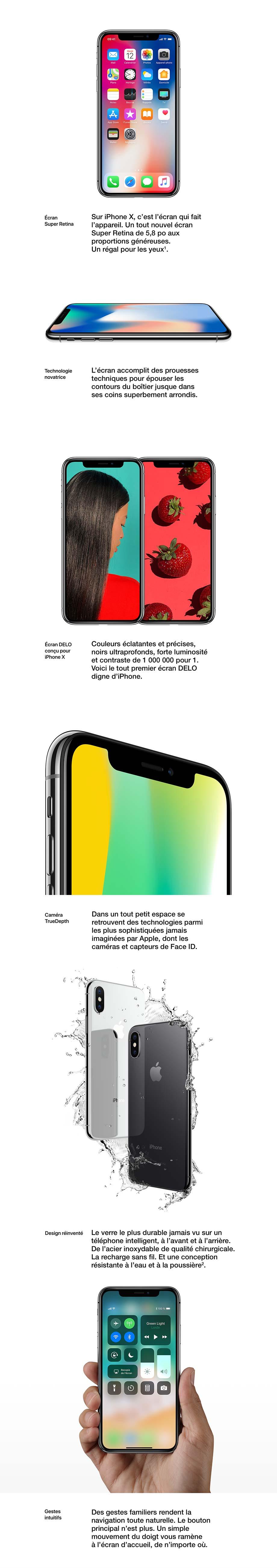 Écran Super Retina, Technologie novatrice, Écran DELO conçu pour iPhone X, Caméra TrueDepth, Design réinventé, Gestes intuitifs