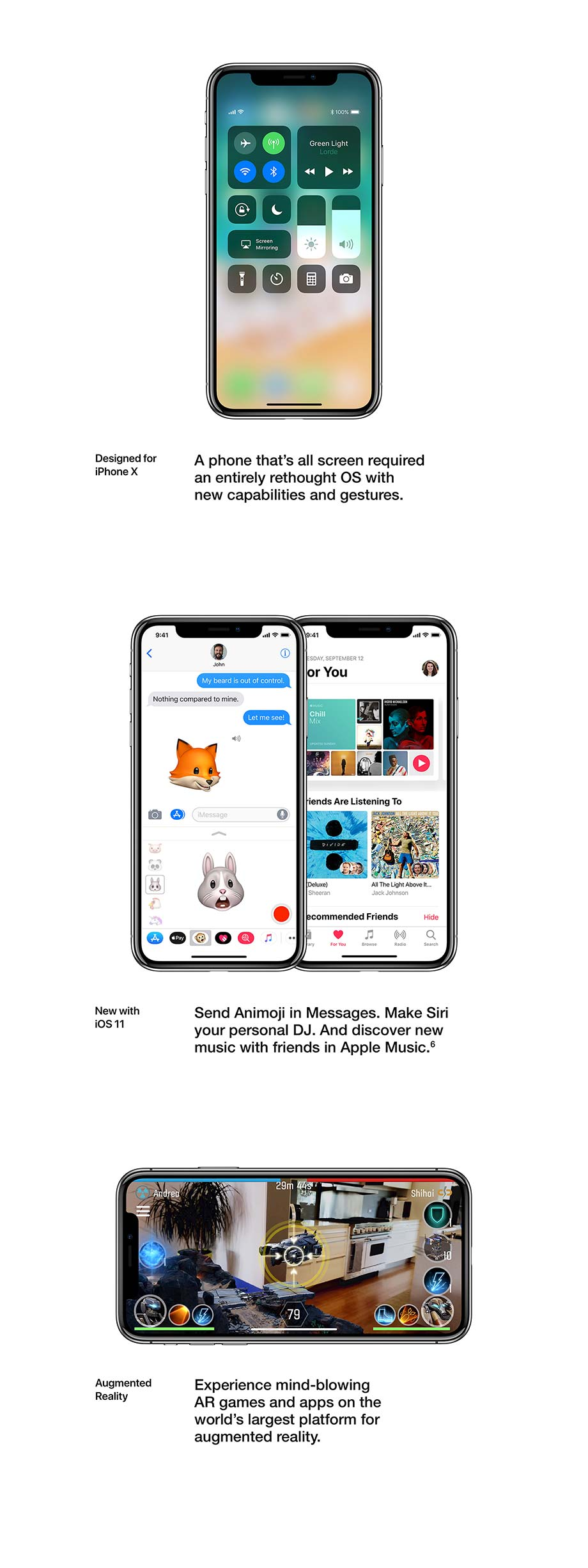 Designed for iPhone X, New with iOS 11, Augmented Reality