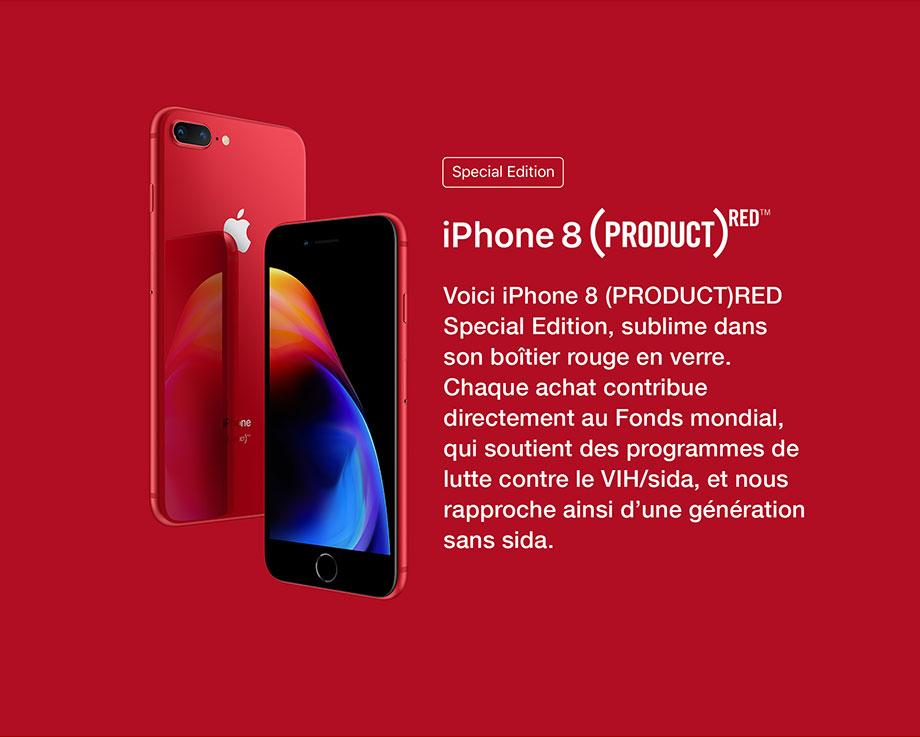 iPhone 8 Product Red. Chaque achat contribue directment au Fonds mondial, qui soutient des programmes de lutte contre le VIH/sida, et nous rapproche ainsi d'une génération sans sida.