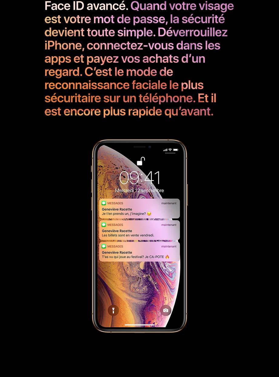 Face ID avancé. Déverrouillez iPhone, connectez-vous dans les apps et payez vos achats d'un regard.