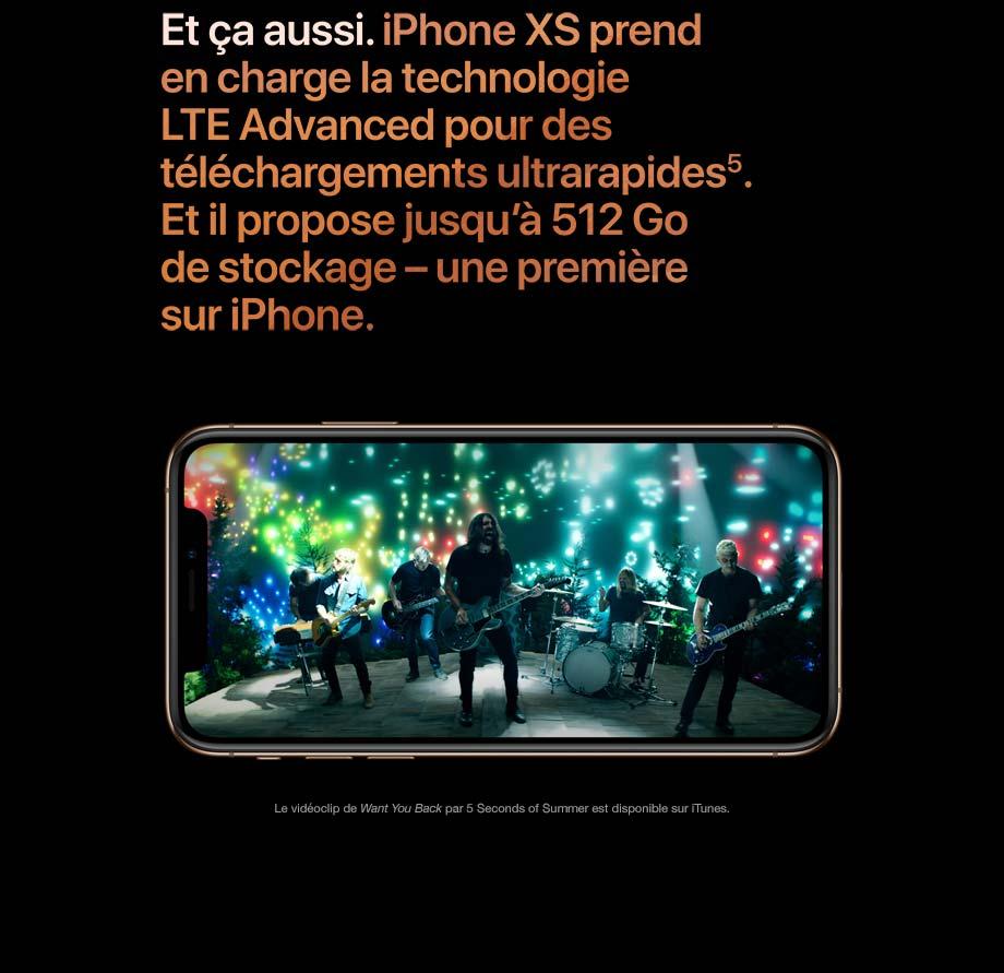 Et ça aussi. iPhone XS prend en charge la technologie LTE Advanced pour des téléchargements ultrarapides.
