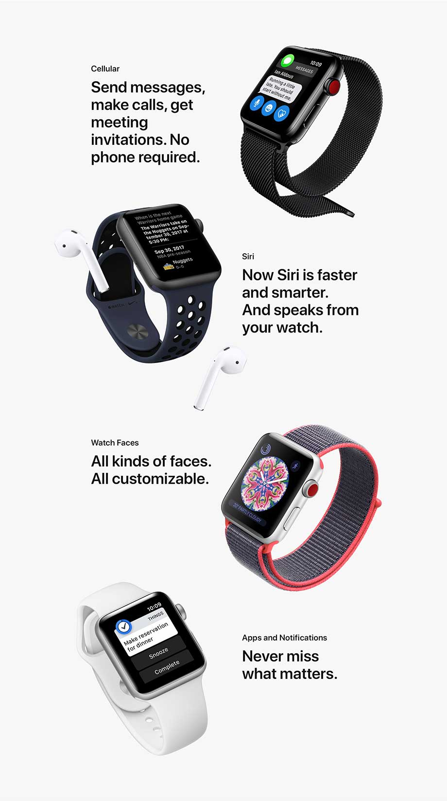 Cellular, Siri, Watch Faces, Apps and Notifications