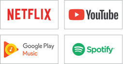 Netflix, YouTube, Google Play Music, Spotify