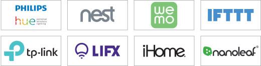Phillips hue, nest, wemo, IFTTT, tp-link, LIFX, iHome, nanoleaf