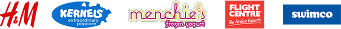 H&M, Kernels Extraordinary Popcorn, Menchie's frozen yogurt, Flight Centre, and Swimco