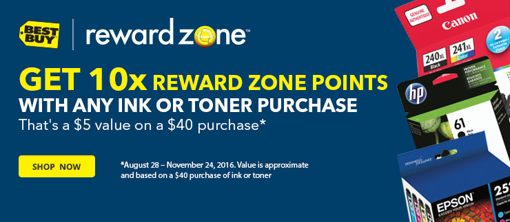 10x Reward Zone points with any ink or toner purchase