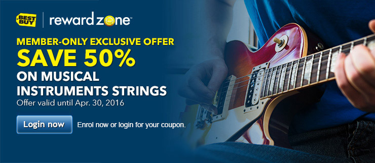 SAVE 50% on musical instruments strings. Login for your coupon.