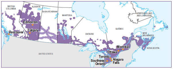CANADA-WIDE COVERAGE map
