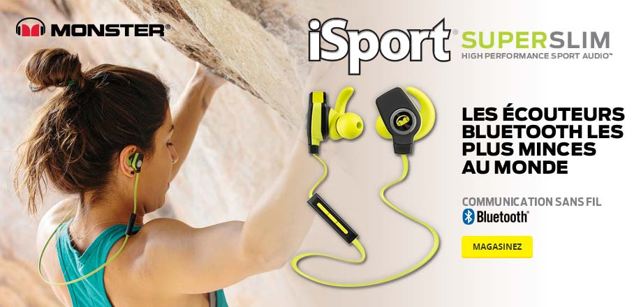 iSport Superslim High Performance Sport Audio. Les ecouteurs bluetooth les plus minces au monde. Magasinez.